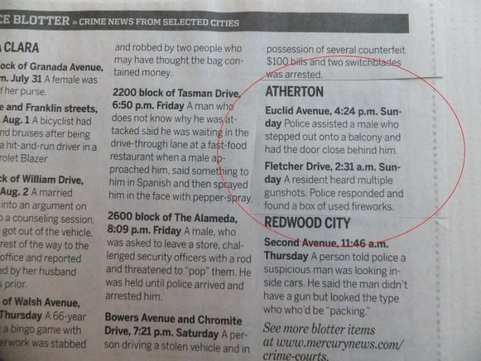Police Blotter Reports From Atherton, California