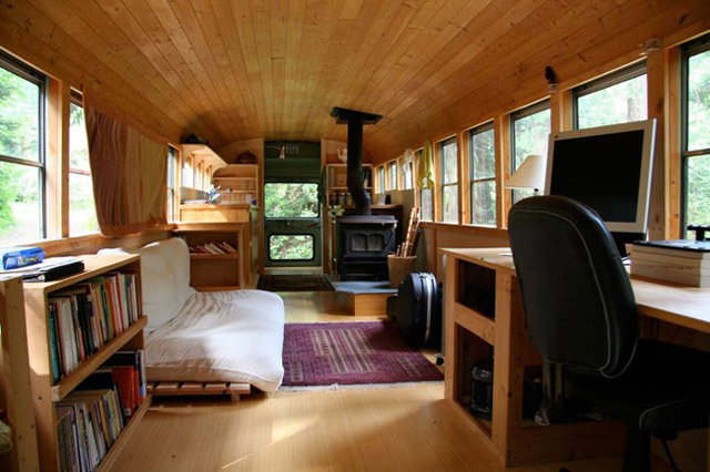 Old bus converted Into a home