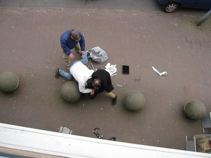 People in the Street Caught Robbers