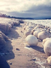 Ice Balls near Sleeping Bear Dunes