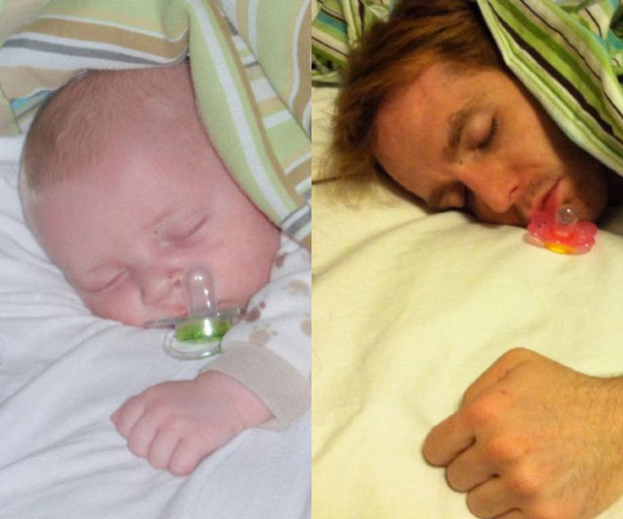 Guy Re-enacts Scenes in Baby Photos