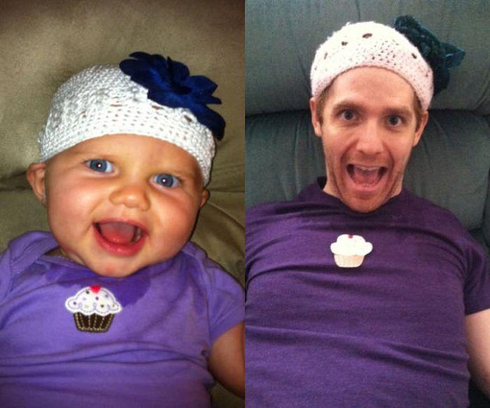 Guy Re-enacts Scenes in Baby Photos