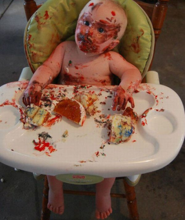 Kid Eats His First Birthday Cake