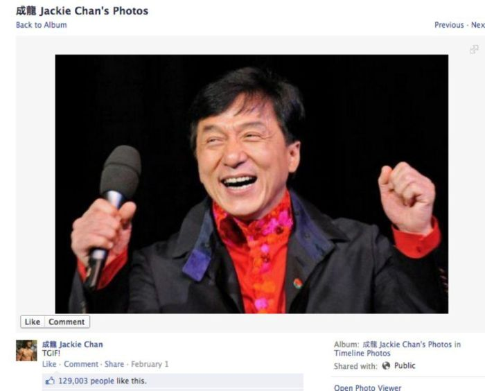 Jackie Chan's Photos on His Facebook