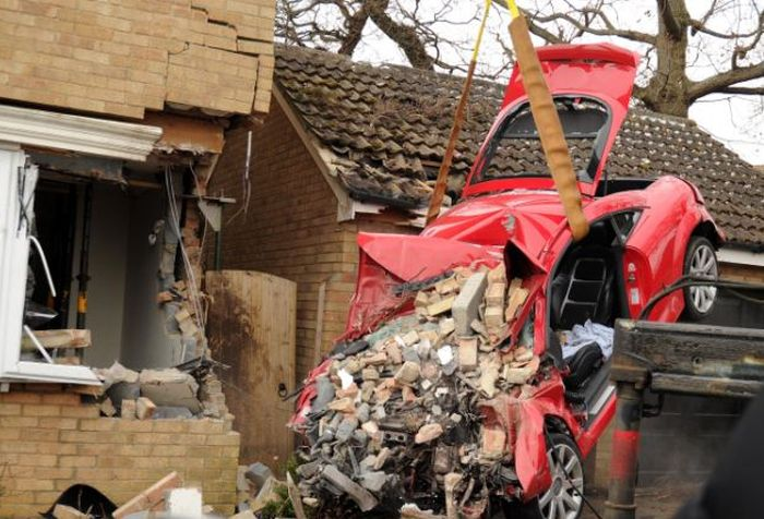 Audi TT Crashed into Side of House