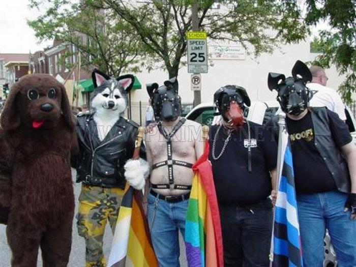 Strange looking people wearing fur
