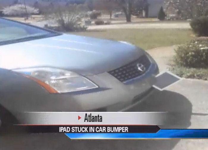 Ipad Stuck in Car Bumper