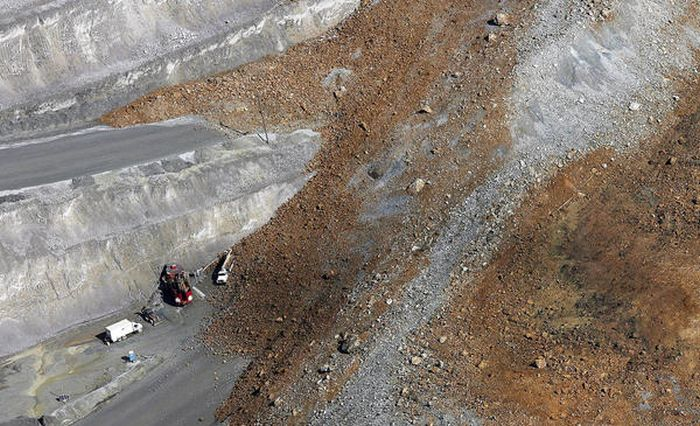 Landslide Aftermath in Kennecott's Bingham Canyon Mine