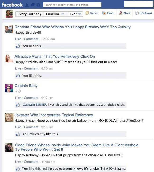 Every Facebook Birthday Wall Ever