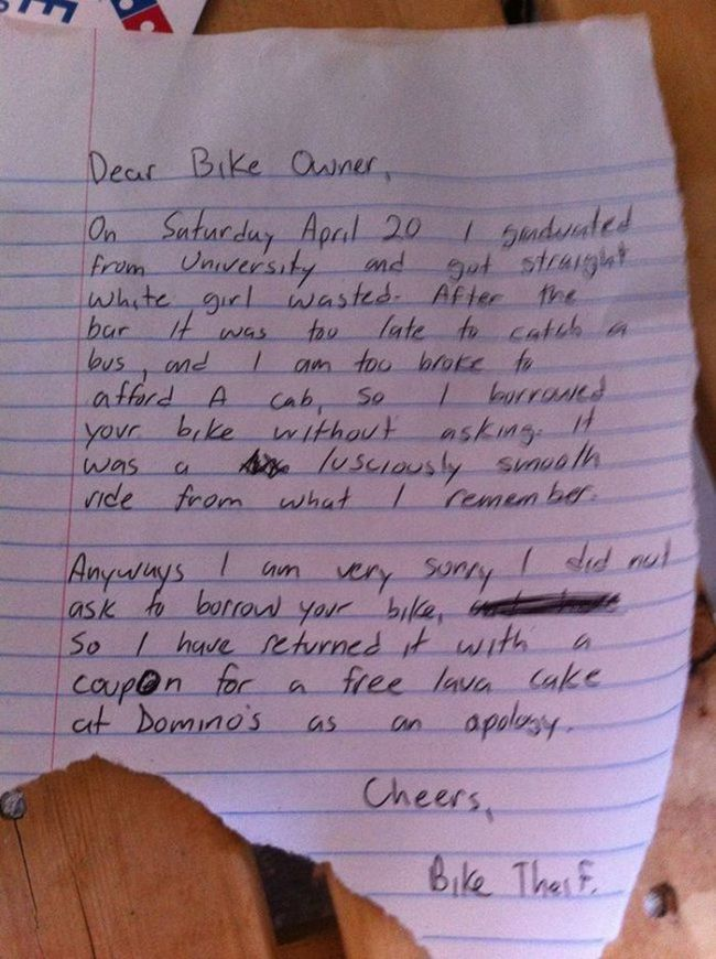 Bike Thief Returns Bike With Hilarious Note