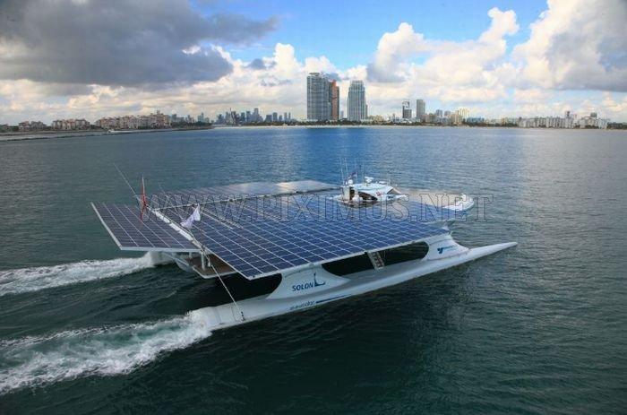 Catamaran With Solar Panels Vehicles