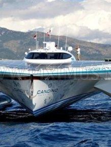 Catamaran with Solar Panels