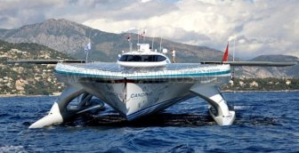 Catamaran with Solar Panels