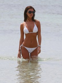 Lucy Mecklenburgh in white bikini on the beach
