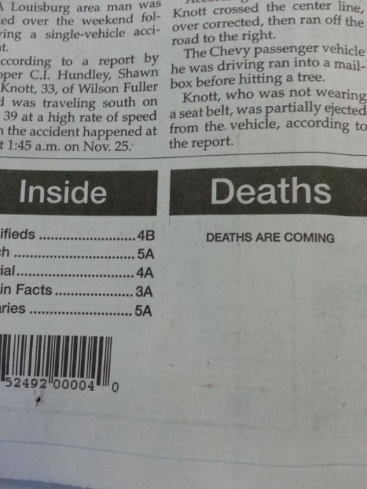 Funny Stuff from Newspapers