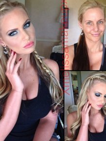 Adult Film Actresses With and Without Makeup
