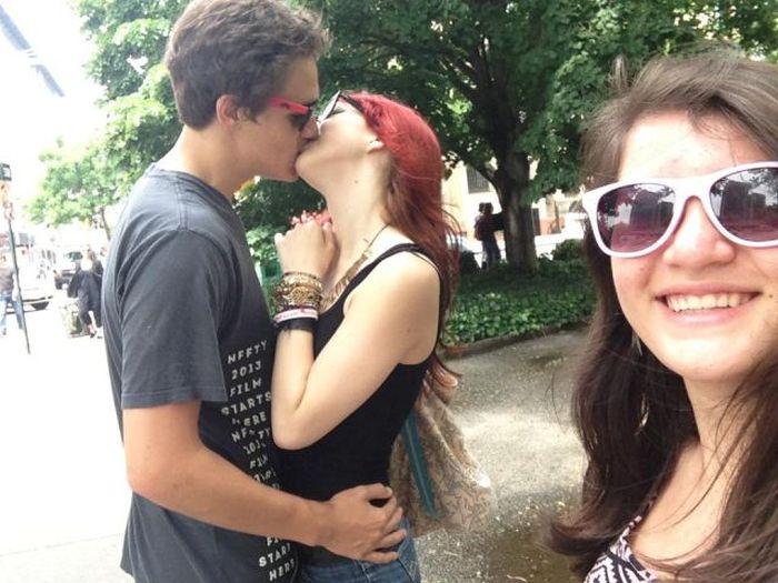 Photobombing Kissing People