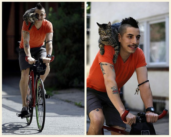 Cyclist and His Cat