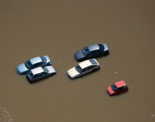 Damaged cars and streets from the flood in Germany