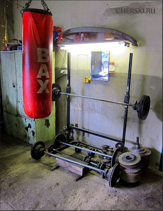 Gym Inside an Auto Body Shop
