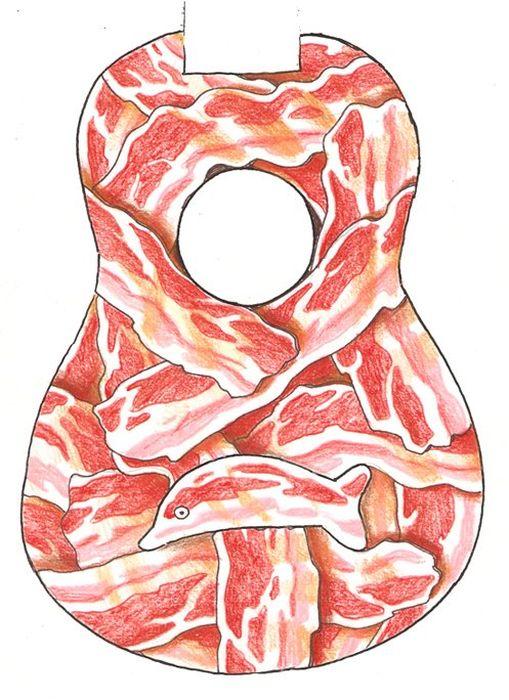 Bacon Ukulele with an Egg Inside