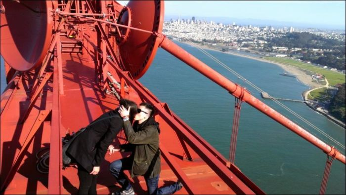 Proposal On The Top Of The Golden Gate Bridge Others