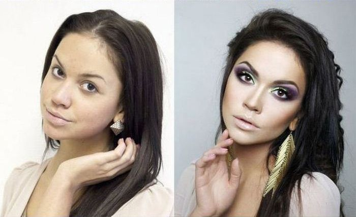 With and Without Makeup