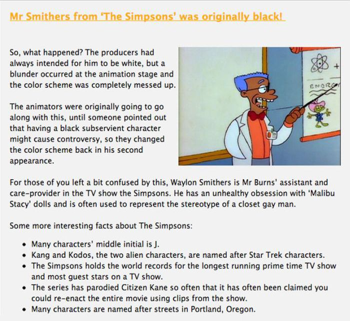 Interesting Facts about The Simpsons, part 2