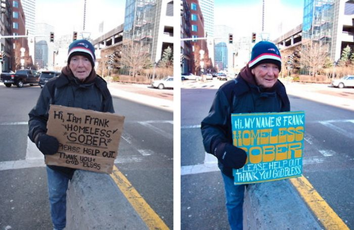 Hand-Painted Signs for Homeless People