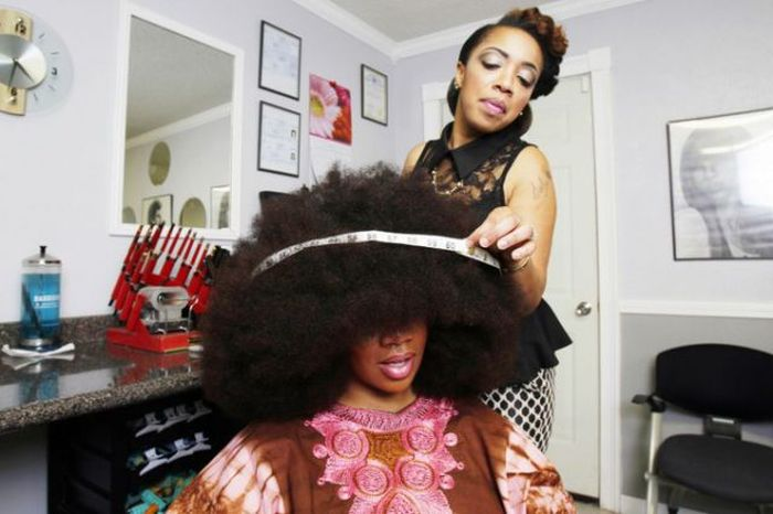 Aevin Dugas. The World's Largest Afro
