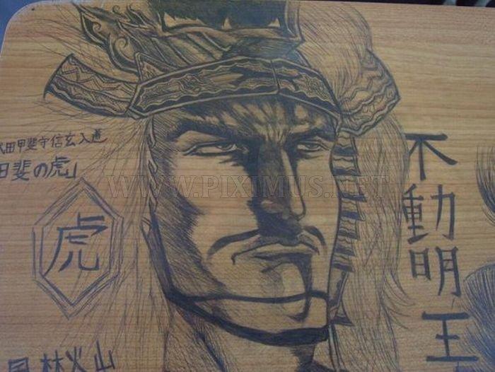 Drawings on School Desks