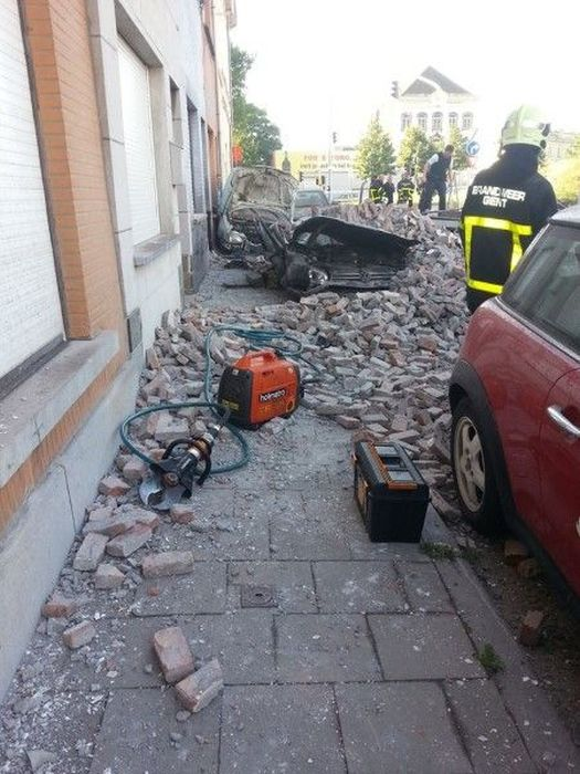 Cars Demolished by a Brick Wall