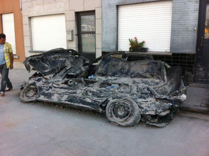 Cars Demolished by a Brick Wall