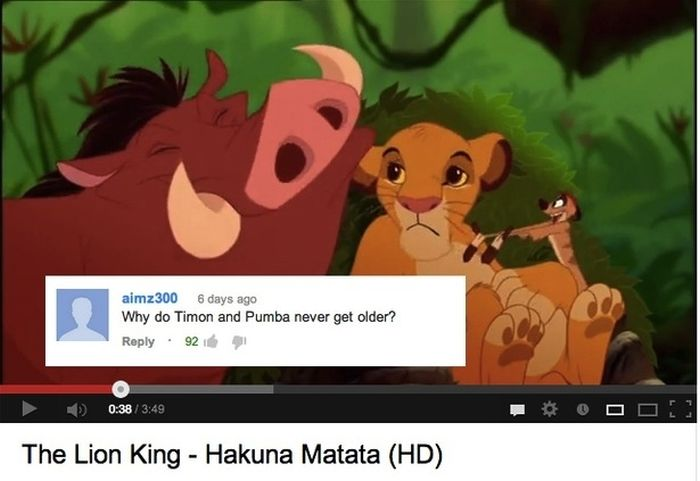 Funny YouTube Comments on Disney Movie Clips