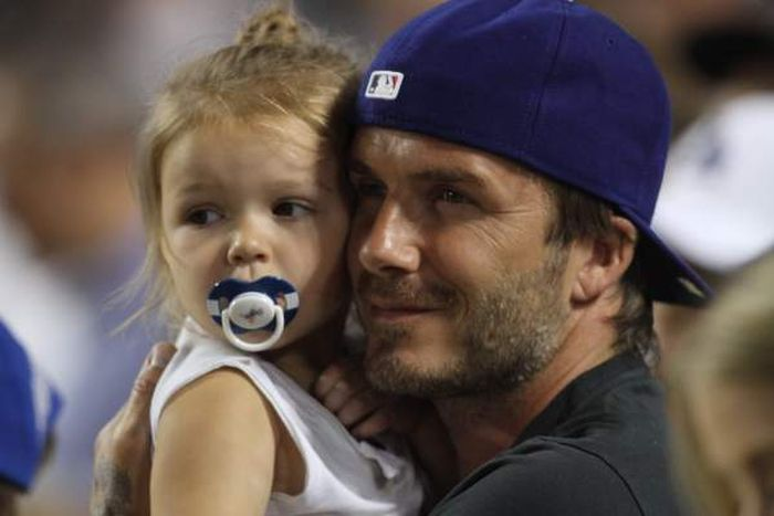 David Beckham and His 1-Year-Old Daughter at Dodgers Game