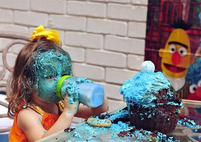 Girl Eats Her Cookie Monster Cake