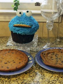 Girl Eats Her Cookie Monster Cake