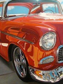 Realistic Paintings of Vintage Cars