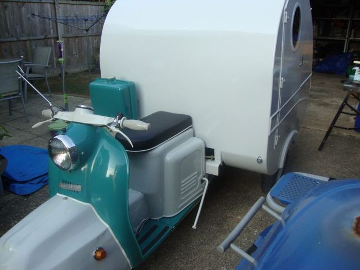 An Old Scooter Transformed into a Mobile Home