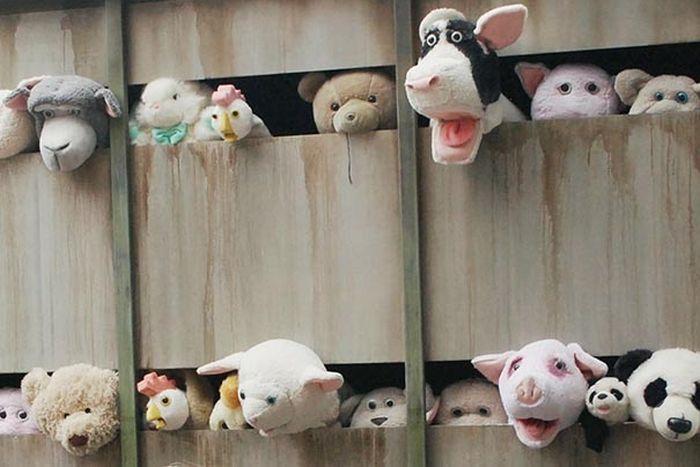 Banksy's Plush Animal Slaughterhouse Truck in NYC