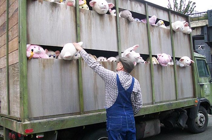 Banksy's Plush Animal Slaughterhouse Truck in NYC