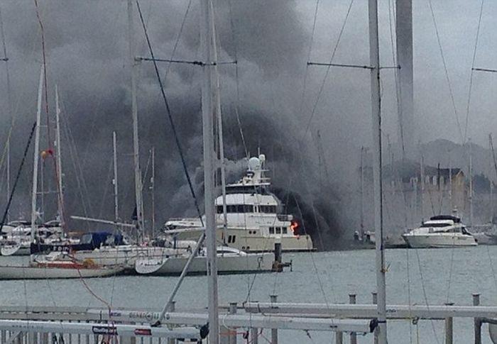 A Multi-Million-Dollar Superyacht Caught Fire
