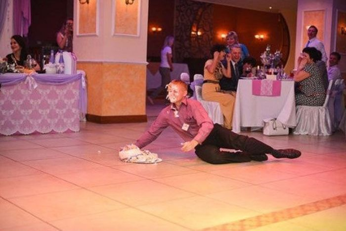 Guy with a Cake Falls Down