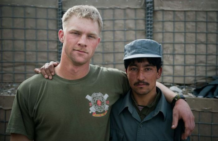 US Marines and Afghan Police Officers
