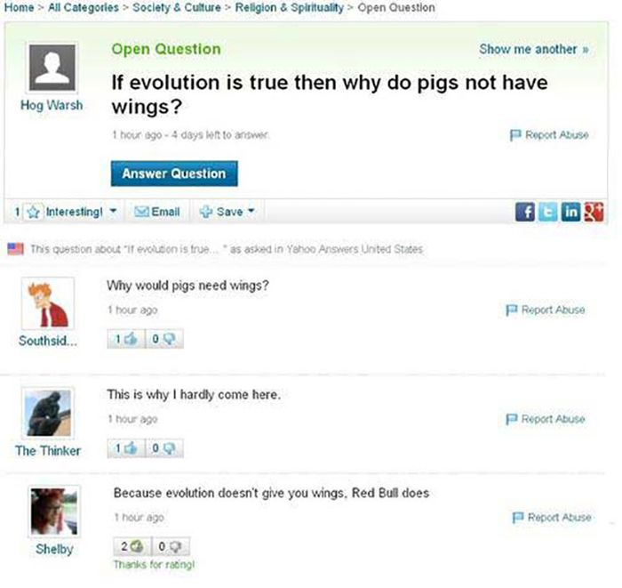 Stupid Yahoo Answers