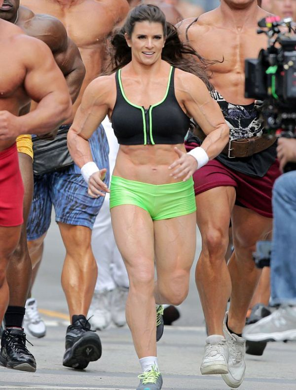 Danica Patrick Wearing a Muscle Costume