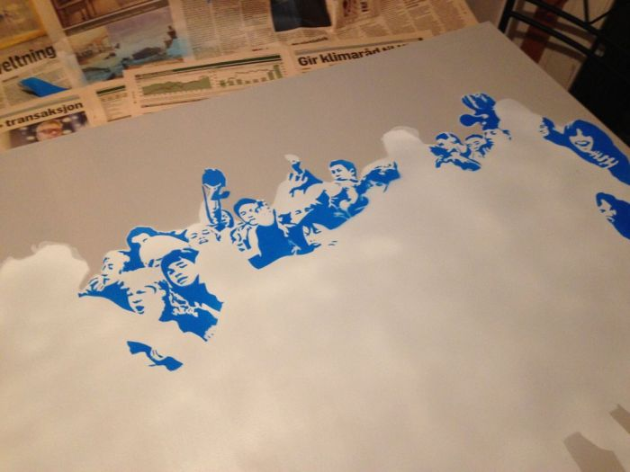 Iconic Photo Adapted into Stencils