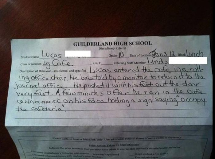 Funny Detention Reasons