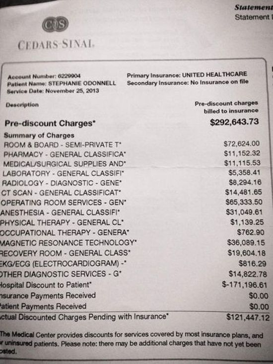 Outrageous Emergency Room Bill