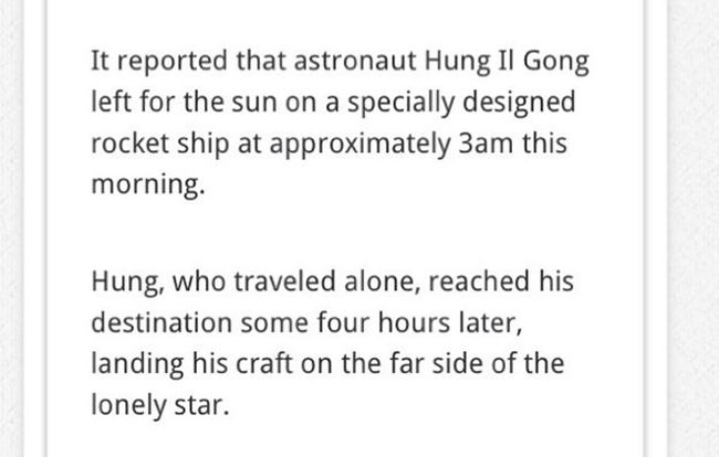 North Korea Claims to Have Landed on the Sun